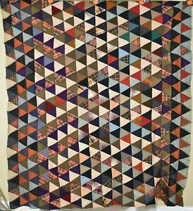 "DAZZLING Vintage Wool 1920's ""10,000 Pyramids"" Antique Patchwork Quilt Top!"