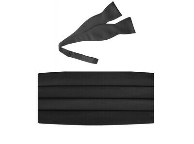 DQT Satin Plain Solid Black Wedding Adjustable Mens Cummerbund