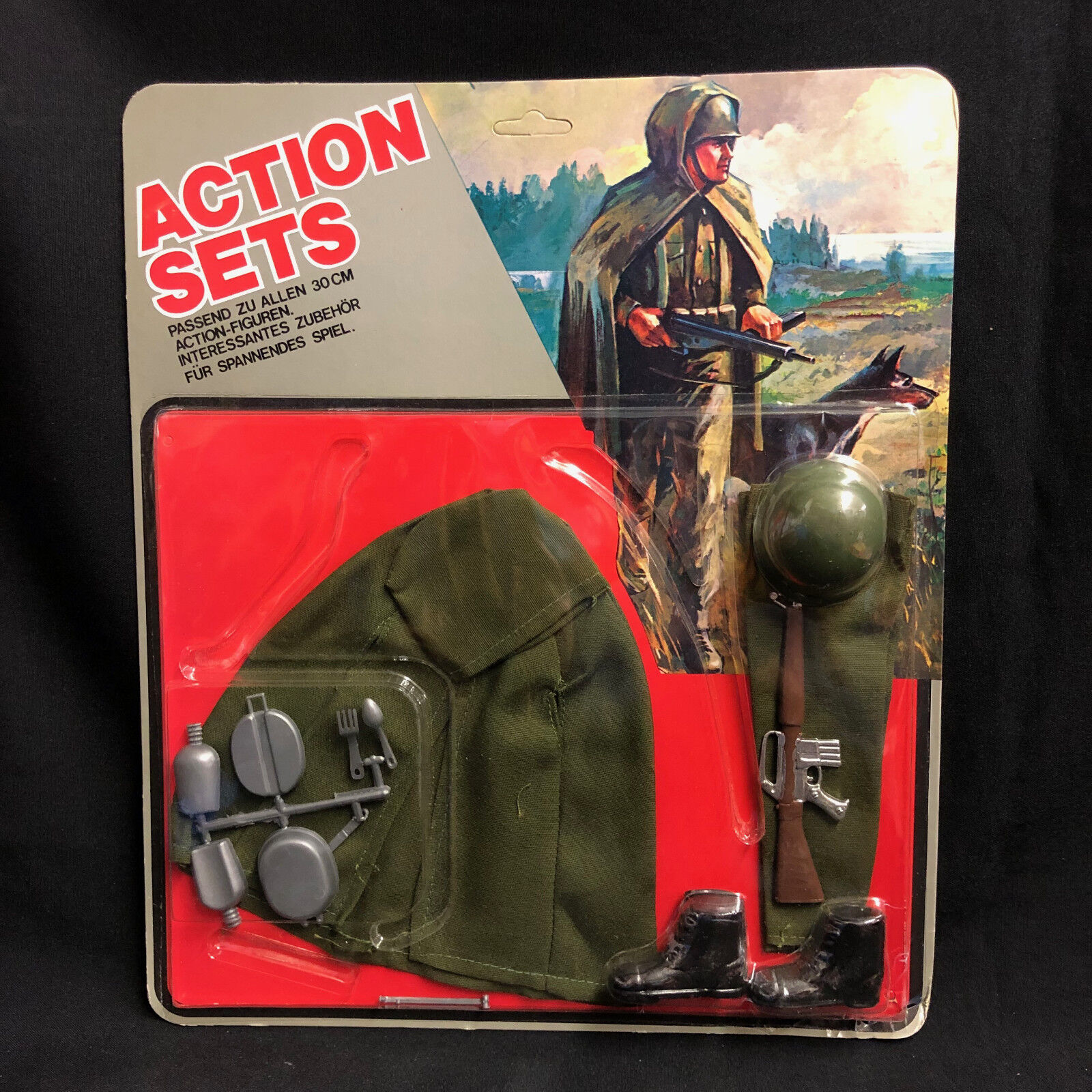 Action MAN-GI JOE-Action Set-Impermeabile Mantello uniforme-cardate