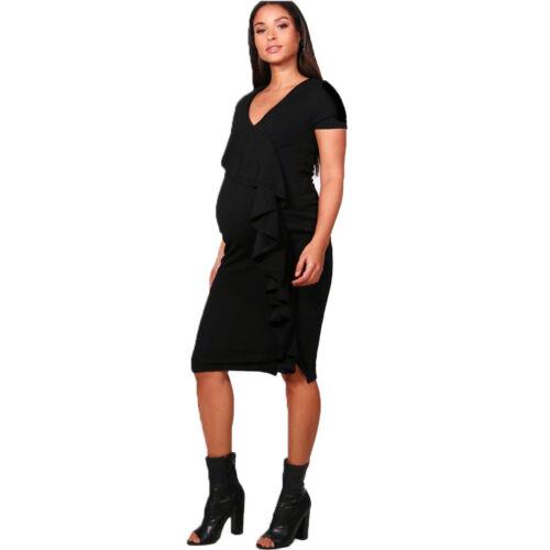 Women/'s Plain Ruffle Front Frill Laura Maternity Bodycon Cap Sleeve Midi Dress