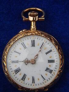 MONTRE-DE-COL-Pendant-watch-OR-amp-DIAMANT-Gold-amp-Diamond-034-ART-NOUVEAU-034