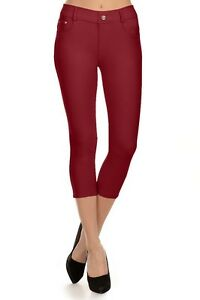 faf8d60135c Image is loading High-Waisted-Skinny-Pants-Capri-Jeggings-with-Pockets-