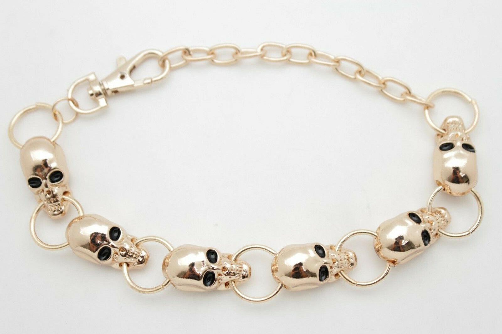 Women Fashion Gold Metal Chain Boot Strap Bracelet Shoe Halloween Skull Charms