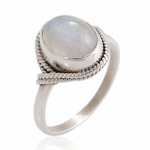 Handmade-White-Moonstone-925-Sterling-Silver-Oval-Rope-Edge-Vintage-Band-Ring