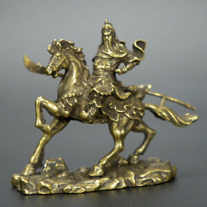 Chinese-old-collection-handwork-bronze-Guan-Yu-ride-Horse-statue