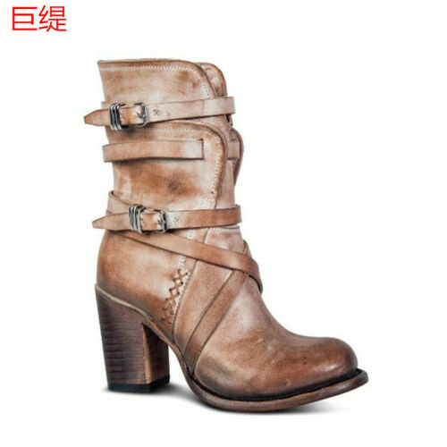 Details about  /Women Fashion Retro Round Toe Buckle Strap Block Heels Shoes Ankle Boots Ting1