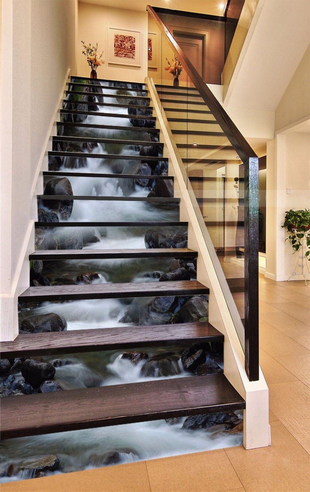 3D Stone Brook 5011 Stair Risers Decoration Photo Mural Vinyl Decal Wallpaper AU