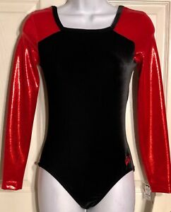 GK-ELITE-LgS-LEOTARD-ADULT-MEDIUM-RED-FOIL-BLACK-VELVET-GYMNASTICS-DANCE-AM-NWT