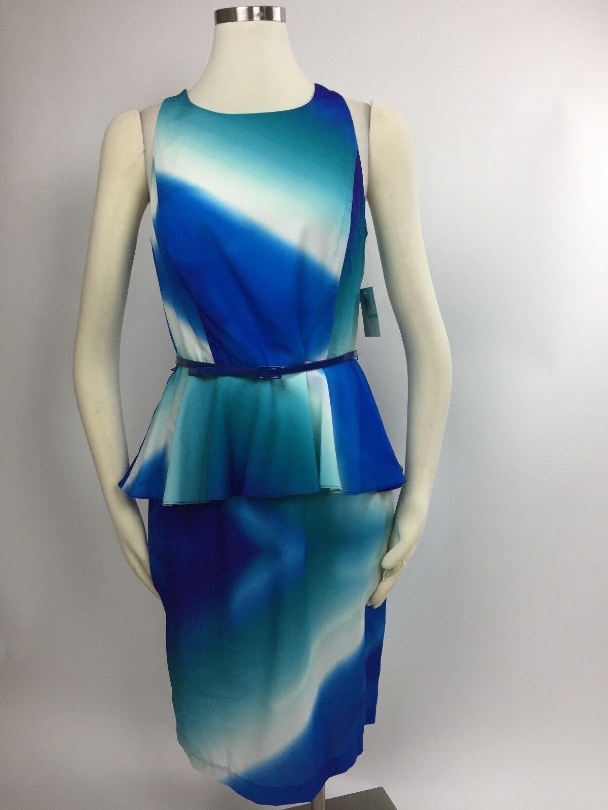 NEW women Morgan bluee Tie Dye Swirl Peplum Belted Sheath Dress 8