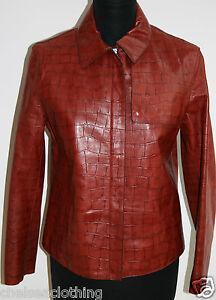 Mock Leather Red it42 Genuine small Uk10 Ruffo Jacket Blazer Zip up Italian Croc wAOXE4fq