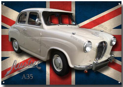 vintage voitures britanniques. Austin A35 métal sign.vintige Austin voitures