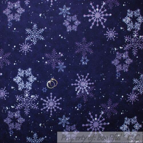BonEful Fabric FQ Flannel Quilt Blue Snow*Flake Tone Tonal Dot Xmas Flower Print