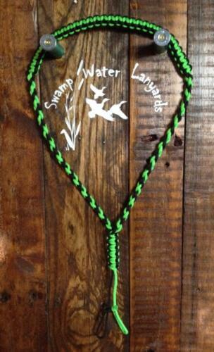 Turkey Predator Call Paracord Lanyard neon green/&black Hand Made Deer Duck