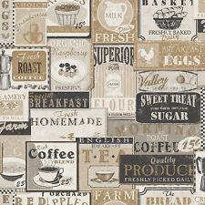G12298 - Kitchen Recipes Tea Coffee Labels Beige Black Galerie Wallpaper