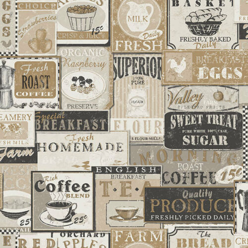 G12298-cuisine recettes thé café étiquettes beige noir galerie papier peint