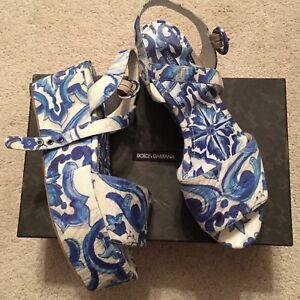 88f95103d Image is loading New-Dolce-amp-Gabbana-Bianca-Blue-Majolica-Brocade-