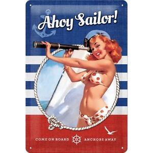 Pin Up - Ahoy Sailor! Tin sign 7 7/8x11 13/16in Nostalgic-Art 22230