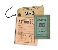 Replica Junior WW2 Ration Book, Evacuee Tag & ID Card - Ideal for school trips.