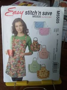 Oop-Mccalls-stitch-n-save-5505-misses-apron-ruffled-bibbed-sz-8-22-NEW