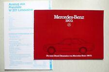Prospekt Mercedes 190 D - Die neue Diesel Dimension, 11.1983, 24 S. + Preisblatt
