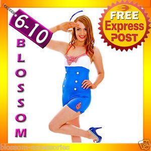 G75-Ladies-Sailor-Suit-Uniform-Costume-50s-Rockabilly-Pin-Up-Fancy-Dress-amp-Hat