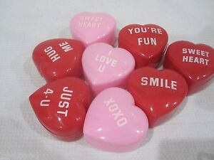 Lot Of 8 Valentines Day Conversation Hearts Candy Box Pink Red
