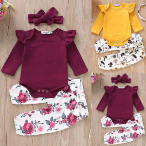 Toddler-Baby-Girls-Ruffle-Romper-Tops-Floral-Pants-Headband-Outfits-Set-Clothes