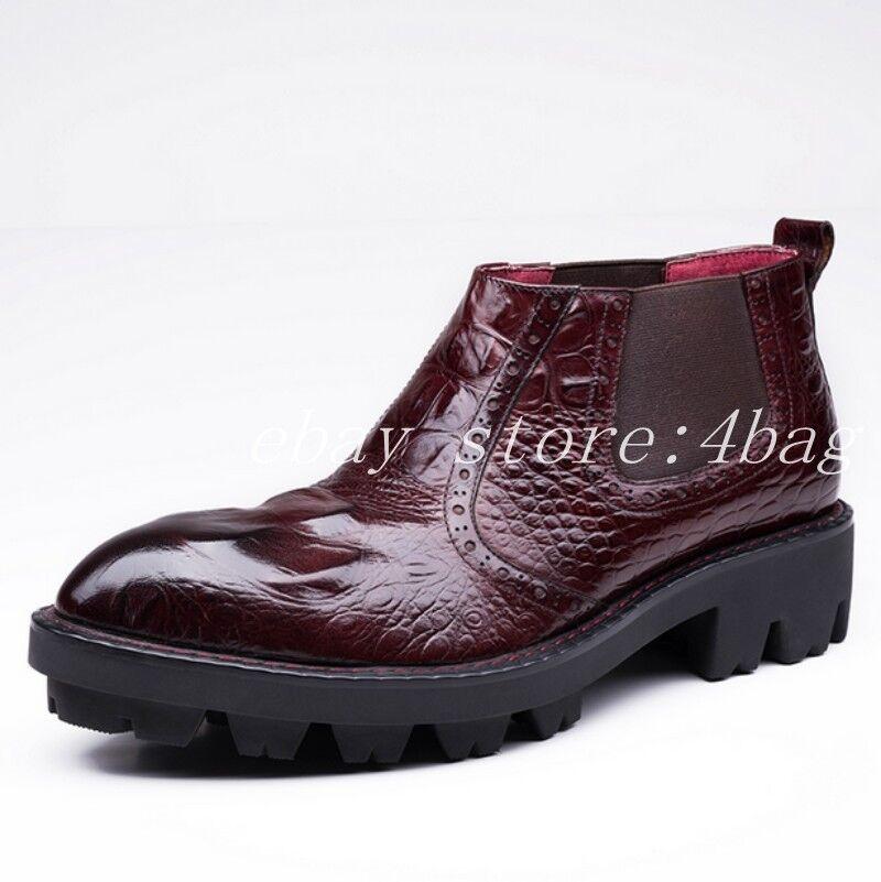 Hombre Cuero Real Cocodrilo Nuevo Botín Formal Zapatos Tire de negocios Oxford