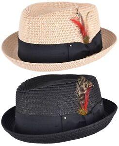 Mens-or-Ladies-Straw-Pork-Pie-Hat-Summer-Trilby-Cap-Sun-Hat-In-Natural-or-Black