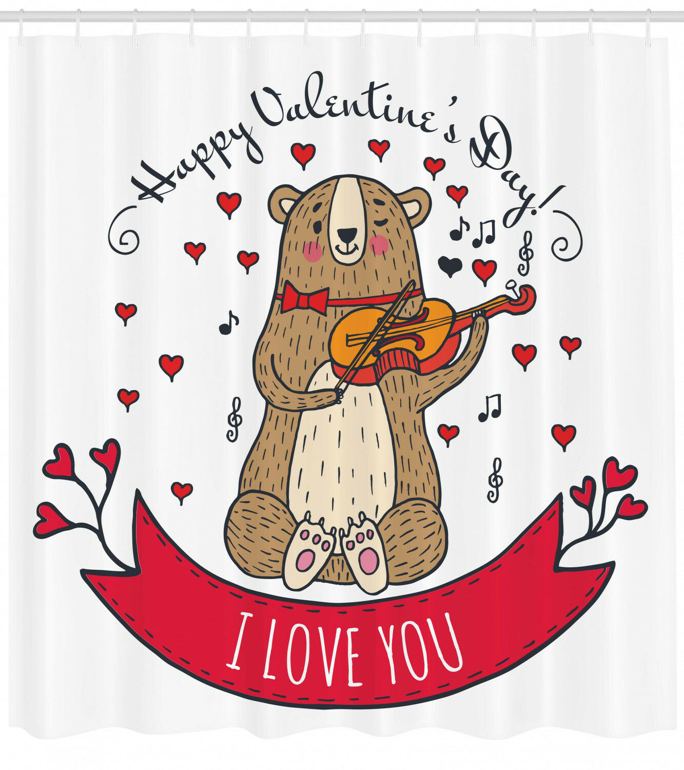 Valentines Day Shower Curtain Bear And Violin Print For Bathroom 21cc47