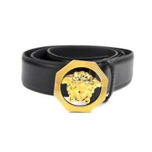 Details About Versace Hexagon Medusa Head Belt Black