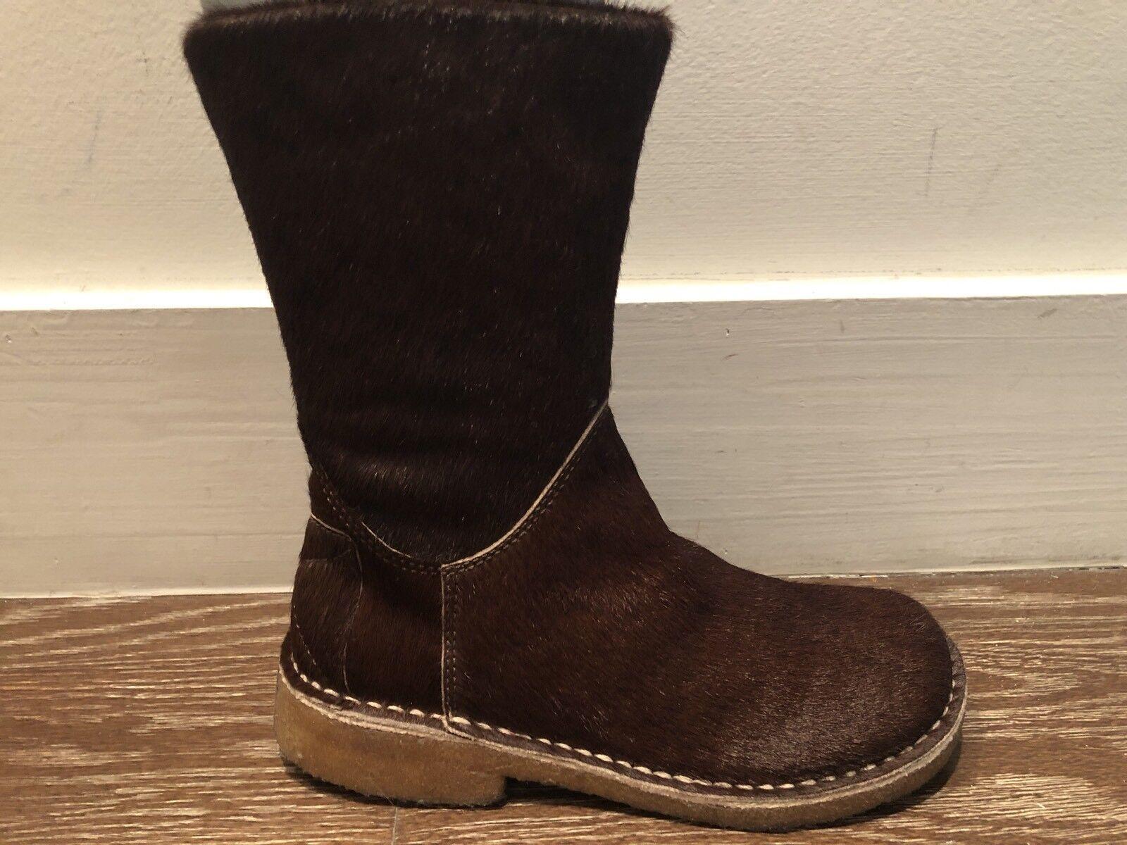 498 Neuf avec étiquettes marron CHOCOLAT Poil De Poney bottes par Kaele Taille 35