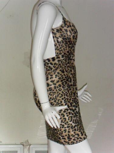 Women Stretch Wrap Dress Beach Cover-up Brown//Black Leopard Pattern New