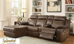 Summer Sale!! Reclining 4 Pc Leather gel Sectional with Push back Reclining Chaise Blow Out Edmonton Area Preview