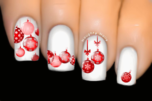 Red-Baubles-Christmas-Nail-Decal-Xmas-Water-Transfer-Sticker-Tattoo
