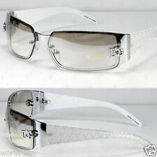 New DG Eyewear Womens Fashion Designer Sunglasses Shade Wrap Silver White Retro