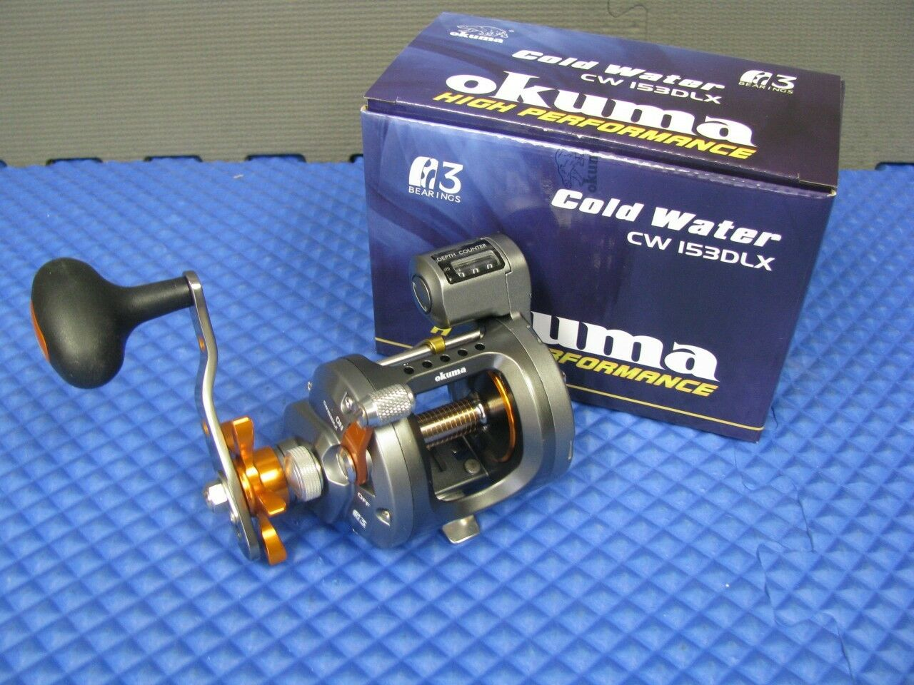 Okuma Cold Water  Left Hand Trolling Reel with Line Counter CW 153DLX  free shipping on all orders