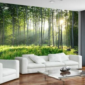 Details About Green Forest Nature Wall Mural Wallpaper Living Room Inside