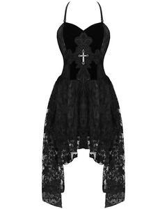 Dark-in-love-gothique-croix-robe-de-bal-noir-vtg-steampunk-victorien-dentelle-soiree