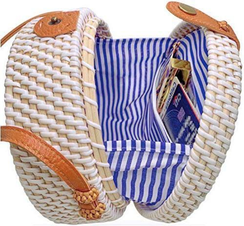 Handmade Straw White Round Rattan Bag Zipper Pouch Adjustable, White, Size