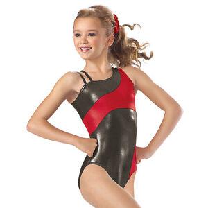 e69c0bddd NEW Gabby Metallic Foil Asymmetrical Dance Gymnastics Leotard Child ...