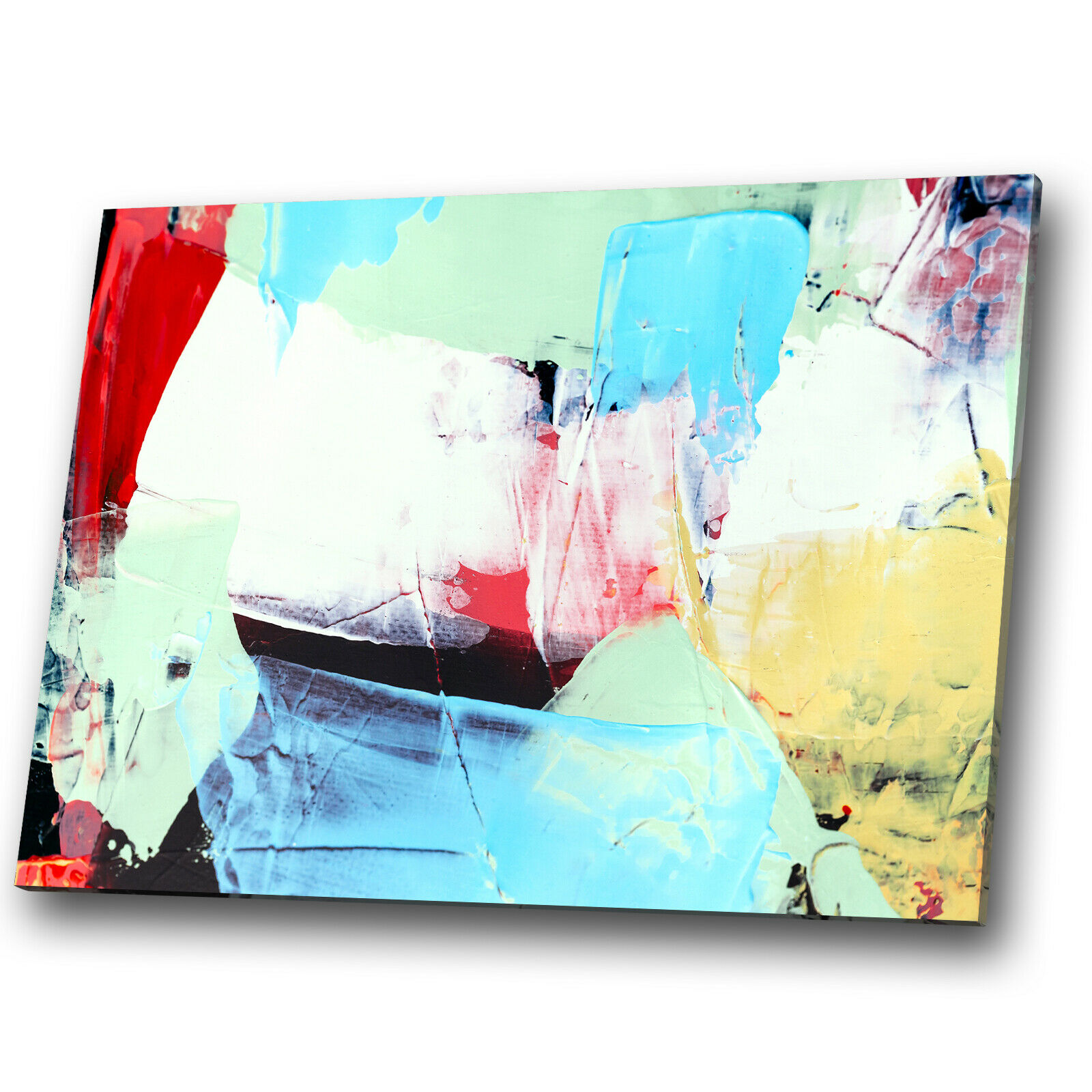 Blau Gelb rot Grün Weiß Abstract Canvas Wall Art Large Picture Prints