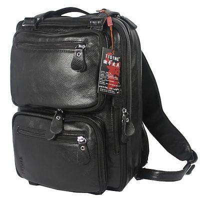 Men's Cowhide Real Leather Ruckback BACKPACK Tote Shoulder Bag Hiking Bag Laptop