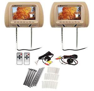 Pair Rockville Rhp7 Bg 7 Beige Tft Lcd Car Headrest Tv