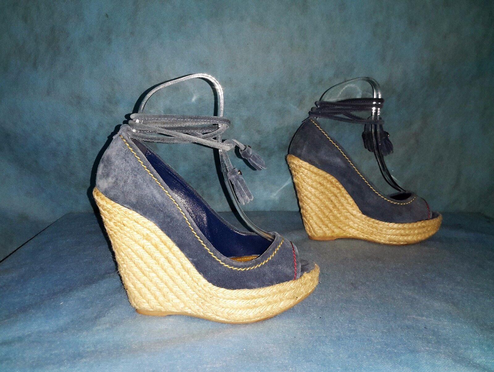 Sandali con taglia zeppa SERGIO ROSSI pelle camoscio blu taglia con 36 fr stato perfetto 89ab4a