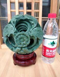 Rare-Huge-interlink-8-Sphere-Magic-Puzzle-Ball-Lucky-geomantic-omen-Green-Jade