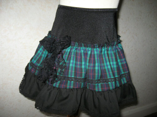 NEW Girls Black Green Tartan check lace Frilly Party Gift Skirt Dance Rock Goth
