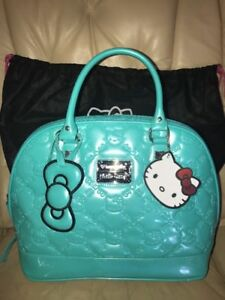 Image is loading Hello-Kitty-Sanrio-Turquoise-Patent-Leather-Embossed- Loungefly- 0c7f79752b