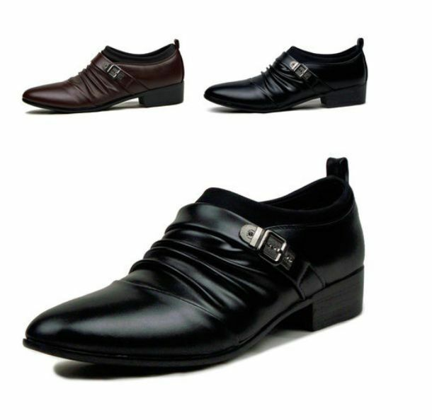 Hot new Mens dress shoes  buckle pointed Casual party oxford elevator  boots