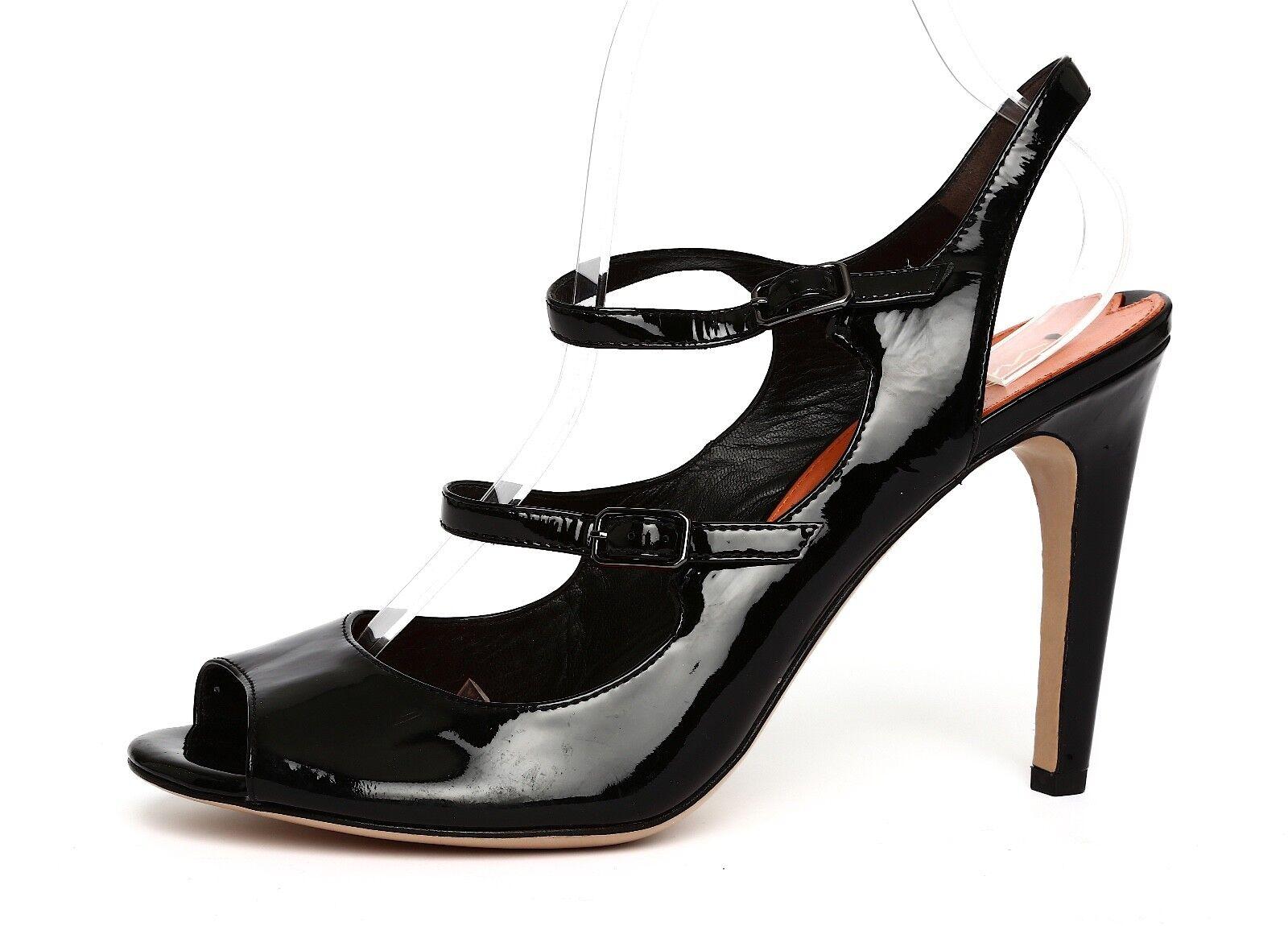 Via Spiga para mujeres Zapatos De Taco Alto Charol Sandalias Sandalias Sandalias Negro talla 9 M 3393  precioso